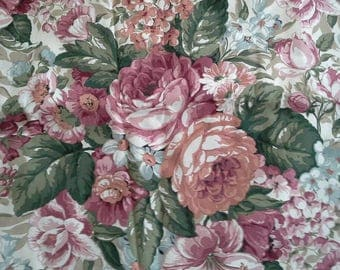 Large Rose Print in Pinks, Mauve Home Decor Cotton Fabric 2 1/3 Yards