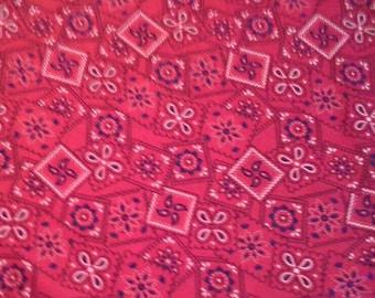 Bandanna Print Red Cotton Fabric 3 1/3 Yards X1160 White Black Print