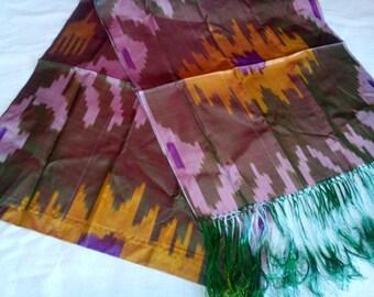 Uzbek handwoven silk ikat scarf Shoyi
