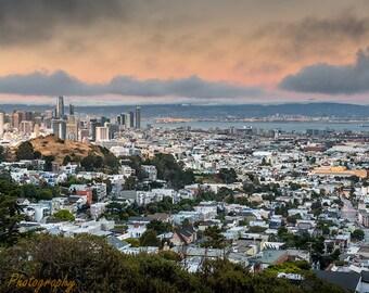 San Francisco,Skyline,Twin Peaks,Downtown San Francisco, California,Travel,Home Decor,Office Decor,Oversize,Panoramic,Wall Art