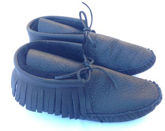 Fringe Moccasins Black Leather Adult