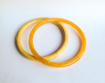 1920s 30s Tubular celluloid bangles wide fit upper arm / 1930s 20s ivorine tube & marbled yellow early plastic flapper bracelets