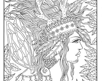 Fairy Hair Digital Coloring page  Instant Download Fairies/fantasy/hair/digi stamp, stamping/fairyland/
