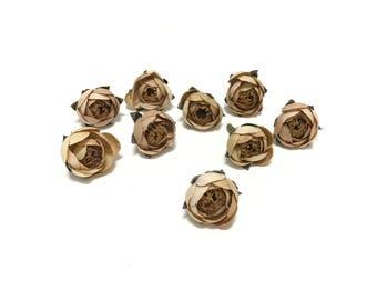 9 Tiny CAMEL BEIGE Artificial Ranunculus Buds - Artificial Flowers, Silk Flowers, Flower Crown, Millinery, DIY Wedding, Hair Accessories,