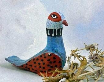 Ceramic Bird Sculpture, Ceramic Bird, Colorful Bird Art, Decorative Garden Bird, Figurine Bird, Clay Bird, Bird Art, Colorful Animal Art