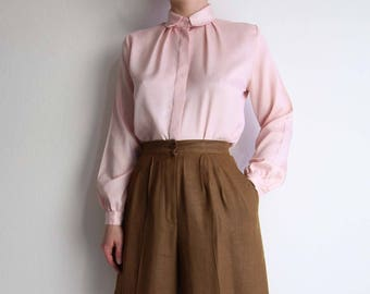 VINTAGE Pink Blouse 1980s Longsleeve Top Womens Small