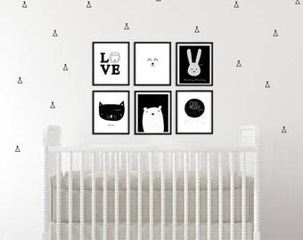 TeePee tent Wall Decals, Tribal decor, Baby Nursery Wall Decal, Kids Wall Decal, Modern Nursery Decal, Modern baby room, Scandinavian decor