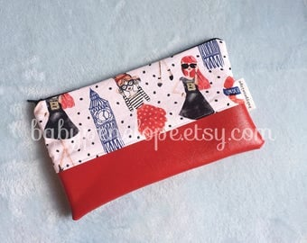 London Cosmetic Bag - Pencil Case - Back to School - London birthday Theme - London pencil case - Ready to Ship