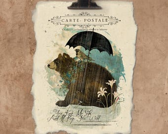Artisan Bear And Bird Handmade Paper Print.