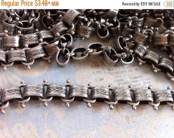 SALE Book Chain Vintage Style High Quality Antique Silver plated Vintage reproduction wide patterned link Book chain