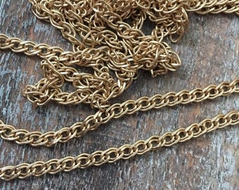SALE NEW High Quality LAYERED link  curb chain 4mm brushed matte Gold plated