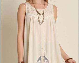 Lace - Tucking - Button Down Front - Cream Colored - Adorable