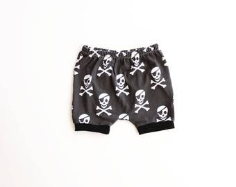 ahoy, matey shorties AND bloomies / diaper cover / baby leggings / toddler shorts / newborn to 3T / pirate shorts / modern baby clothes
