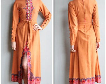 1970s Dress // Souk Indian Cotton Maxi Dress // vintage 70s dress
