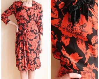 1940s Dress // October Floral Rayon Dress // vintage 40s dress