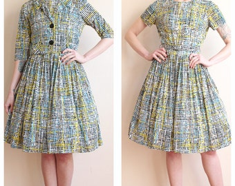 1950s Dress // Cay Artley Bold Pattern Jersey Dress & Jacket // vintage 50s dress set