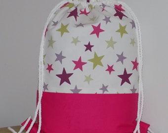 Stars drawstring bag, girls rucksack, waterproof swimming rucksack, nursery bag, PE bag, girls ballet bag