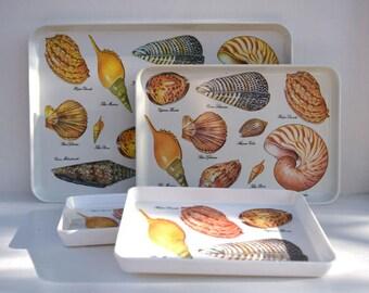 Seashells trays set of 4 serving trays Nautical decor beach house coastal living Island Hawaiian party luau drinks serving sushi appetizers
