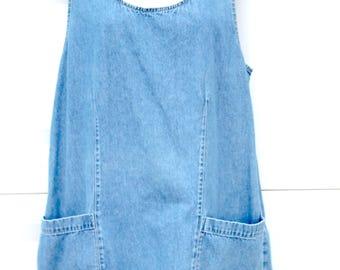 Vintage Denim Jumper dress Skirt Large 10-12 pockets Women's