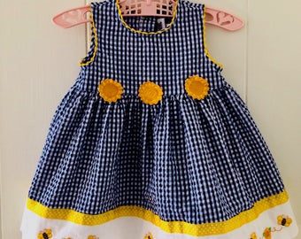 Baby sundress, gingham, sunflowers, Easter, 12 months, YoungLand