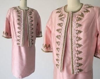 MR. BLACKWELL 1960s Bejeweled Pink Silk 2pc Set / Vintage Designer Jackie O Dress