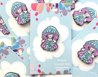 Ghost mushroom Jellyfish Limited Edition enamel pin, lapel pin, party supplies, party favors,