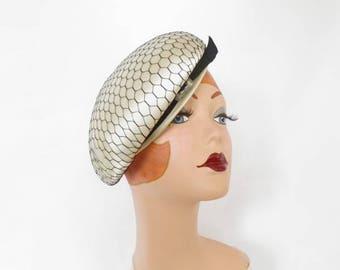 Vintage 1960s hat, white tilt with black netting, Jan Leslie