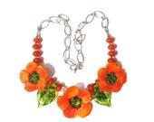 Handmade Lampwork Poppy necklace by MMB SRA # U5