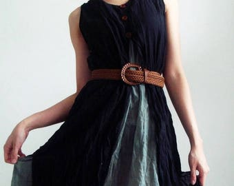 ON SALE 40% off, D6, Two Tone Two Layers Sleeveless Black Cotton Dress