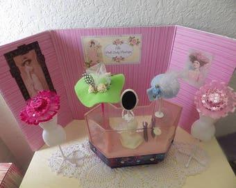 Barbie Boutique Vignette,Background, Store Case, Mannequins, Hats, Purse, Boots.