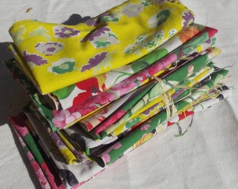 Bundle Vintage French Fabric 1940s Agatha Christie Cottage scraps remnants Floral material