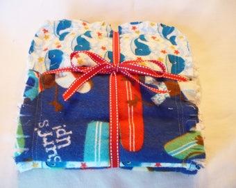 Baby Boy Rag Quilt Burp Towels Set of 3 Boy Burp Cloths Beach Baby Surf Monkey Ocean Whales Red White Blue Cotton Chenille
