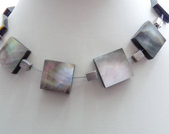 Vintage Modernist Style Signed ETNIKA Mother of Pearl Squares Designer Necklace