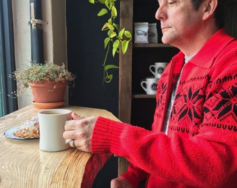 Vintage, Unisex, Kingsport, Zipper Front, Fair Isle, Red, Cardigan, Cool Weather Fashion