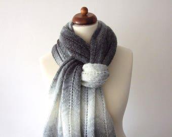 big scarf, shades of gray shawl, black white shawl with metallic thread
