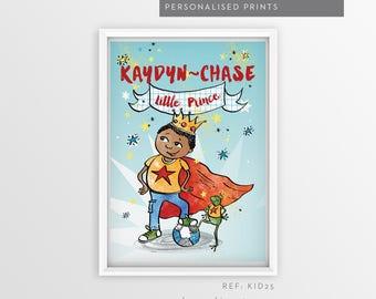 Personalised Little Prince Print, Kids Room Decor, Kids Wall Art, Nursery Wall Art, Personalized Prints, Print, Black Boy, Multicultural