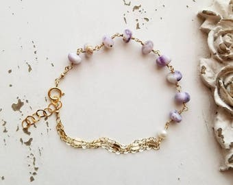 Dainty Gemstone Bracelet, Lavender Mexican Morano Opals, Gold Fill Bracelet, Wire Wrapped Gemstones, OOAK, Gemstone Jewelry, One of a Kind
