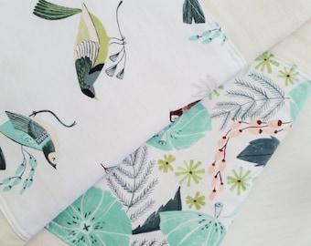 Burp Cloth Set, perch + perch floral, baby shower gift, baby essentials, bird burp cloth, floral burp cloth