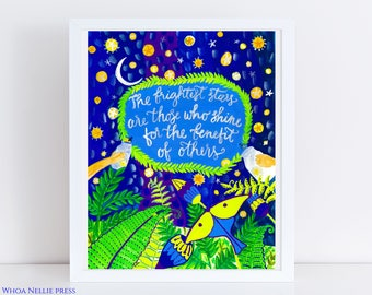 Night Sky/Firefly Folk Art Print -- Kids Room Decor- The brightest stars are those who shine for the benefit of others quote