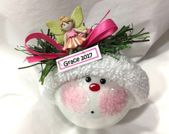 GARDEN FAIRY Christmas Ornaments Color Choice Christmas Hand Painted Handmade Personalized Themed by Townsend Custom Gifts (F) - BR - 90ABC