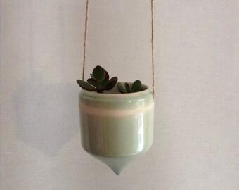 Hanging celadon  ceramic planter