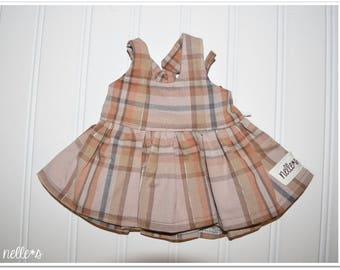 """18"""" Doll Size Jumper Dress *Special Price* - Tan brown plaid print jumper dress with elastic back and criss-cross ties nelle*s"""
