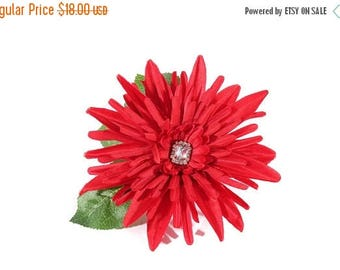 FLASH SALE Red Mum Pinup Hair Flower Fascinator Clip with Rhinestone Cabochon Center