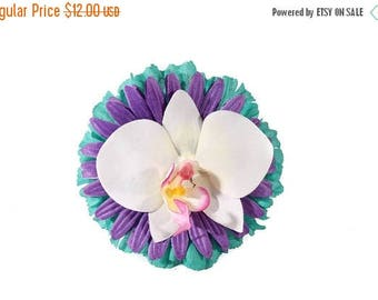 FLASH SALE Purple Teal and White Daisy and Orchid Tropical Pinup Hair Flower Fascinator Clip