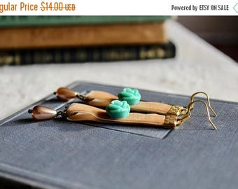 40% OFF SALE Light buckskin velvet earrings with turquoise rose and ivory drop pearls, Maple Grove