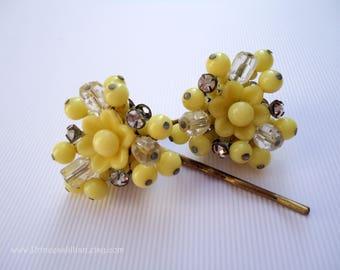 Vintage earrings hair slides - Sunshine yellow beaded crystal rhinestone cluster flower unique jeweled decorative embellish hair accessories