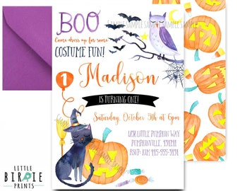 HALLOWEEN BIRTHDAY INVITATION Halloween first birthday invitation (any age) Watercolor Halloween invitation Pumpkin Cat Bat Witch invitation