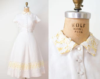 1950s Linen Dress / 50s Harvey Berin Dress
