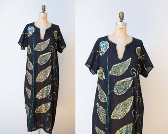 1970s  Caftan / 70s Sequin Cotton Gauze Dress