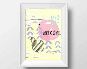 Welcome Greetings for Home Decor Abstract Memphis Pattern Nursery Kids Children Printable Digital Download